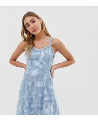 New Look Sundress With Ruffle Edge In Check - Blue