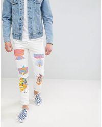 ASOS DESIGN - Asos Stretch Slim Jeans In Ecru With Prints - Lyst