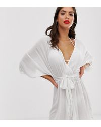 ced62c795d ASOS - Asos Design Tall Plunge Tie Waist Kimono Sleeve Crinkle Beach Cover  Up In White