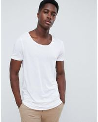 ASOS - Longline T-shirt With Raw Scoop Neck And Curve Hem In Linen Mix In White - Lyst