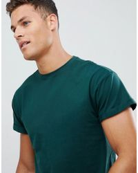 New Look - T-shirt With Roll Sleeve In Green - Lyst