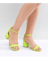 21417479fec4 Asos Hashtag Wide Fit Heeled Sandals in Pink - Lyst