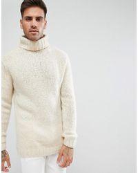 River Island | Roll Neck Sweater In Cream | Lyst