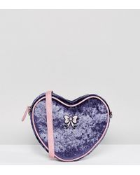 Lazy Oaf - Exclusive Velvet Heart Cross Body Bag With Bow Detail - Lyst