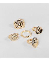 Monki - Multi Pack Rings In Gold - Lyst