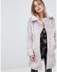 Miss Selfridge - Crushed Faux Fur Coat - Lyst