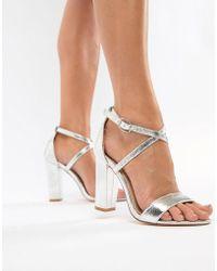 62c261a2be3 Glamorous Metallic Cross Strap Block Heel Sandals In Rose Gold in ...