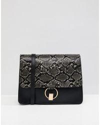 Warehouse - Snake Panel Satchel Bag In Black - Lyst