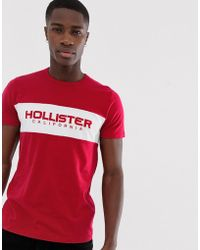 Hollister Tech Logo Chest Panel T-shirt In Red