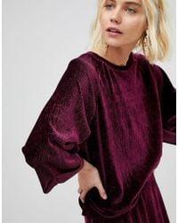 Pieces - Velvet Sweatshirt - Lyst