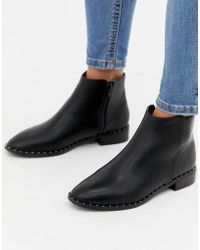 Oasis - Flat Boots With Stud Detail In Black - Lyst