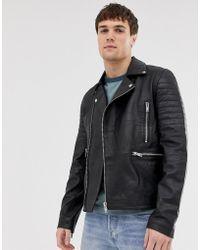 Barneys Originals - Barney's Originals Real Leather Quilted Zipped Biker Jacket - Lyst