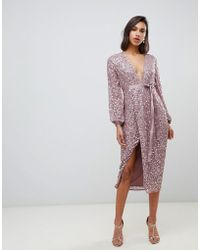 ASOS Midi Dress In Allover Scatter Sequin With Ribbon Tie Waist