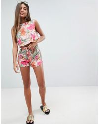 ASOS - Tropical Ruched Side Co Ord Short - Lyst