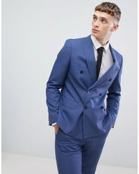Moss Bros - Moss London Double Breasted Skinny Suit Jacket In Blue - Lyst