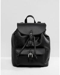 Pull&Bear - Buckle Detail Backpack In Black - Lyst