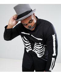 ASOS | Plus Halloween Stretch Slim Shirt With Rib Cage Print | Lyst