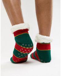ASOS - Christmas Slipper Socks In Glitter Stripes With Fluffy Lining - Lyst