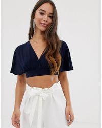 Love Kimono Sleeve Crop Top - Blue