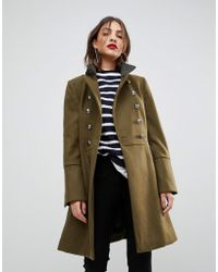 Mango | Flare Sleeve Button Military Coat | Lyst