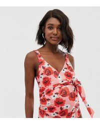 61dbb4a930d1d ASOS - Asos Design Maternity Recycled Wrap Round Swimsuit In Red Floral  Print - Lyst