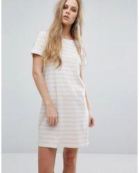 Vila - Scoop Neck Striped Dress - Lyst
