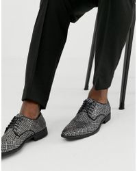 ASOS - Lace Up Shoes In Black And Silver Jacquard - Lyst