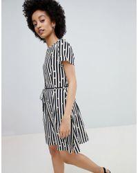 ONLY - Metallic Spot Stripe Skater Dress - Lyst