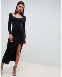ASOS - Long Sleeve Scoop Neck Maxi Dress With Thigh Split - Lyst