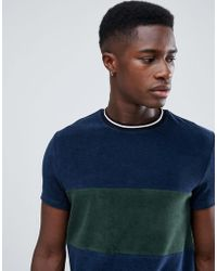 ASOS - T-shirt In Towelling With Contrast Body Panel In Navy - Lyst