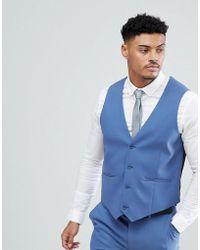 ASOS - Skinny Suit Waistcoat In Cornflour Blue - Lyst