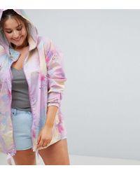 ASOS - Asos Design Curve Rainwear Jacket With Bum Bag In Pastel Spray Paint - Lyst