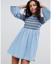ASOS - Denim Smock Dress With Embroidery In Midwash Blue - Lyst
