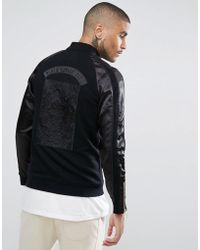 2b60a85520a16 Black Kaviar - Track Jacket In Black With Contrast Sleeves - Lyst