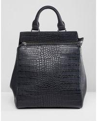 Liquorish - Croc Effect Structured Backpack - Lyst