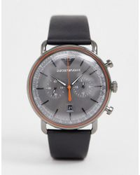 Emporio Armani - Ar11168 Aviator Leather Watch 43mm - Lyst