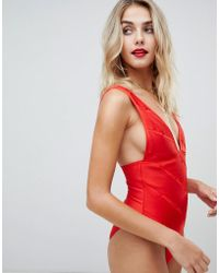 92c4cbf8dd182 ASOS - Weave Detail Bandage Plunge Swimsuit In Red - Lyst