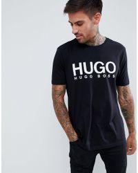 HUGO - Dolive Large Logo T-shirt In Black - Lyst