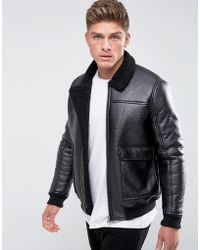 Barneys Originals - Faux Leather Borg Collar And Lining Jacket - Lyst