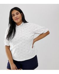 93ed732c3fa927 ASOS - Asos Design Curve Swing Top In Broderie With Pie Crust Ruffle Neck -  Lyst