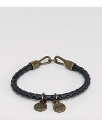 DIESEL - A-santy Leather Charm Bracelet In Black - Lyst