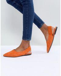 Vagabond - Katlin Orange Suede Sling Back Pointed Flat Shoes - Lyst