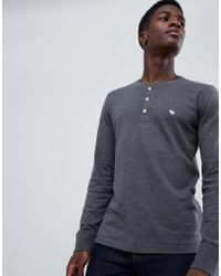 Abercrombie & Fitch - Icon Logo Long Sleeve Henley Top In Dark Gray Marl - Lyst