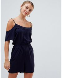 ONLY - Tina Cold Shoulder Playsuit - Lyst