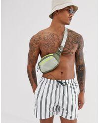 ASOS - Swim Shorts With Khaki Stripe Short Length - Lyst