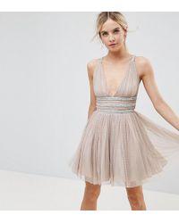ASOS - Tulle Strappy Embellished Mini Skater Dress - Lyst
