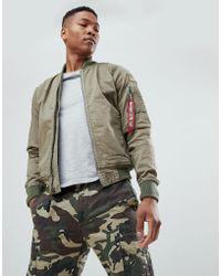 Alpha Industries - Ground Crew Cotton Bomber Jacket Badge Detail In Green - Lyst
