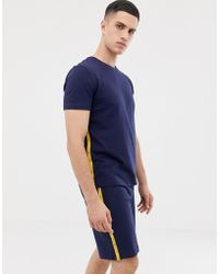 Tommy Hilfiger - Crew Neck T-shirt With Contrast Sleeve Taping In Navy - Lyst