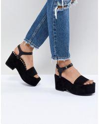 Pull&Bear - Flatform Heel Sandal In Black - Lyst