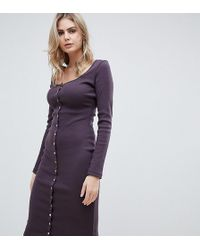Missguided - Popper Detail Ribbed Midi Dress In Aubergine - Lyst